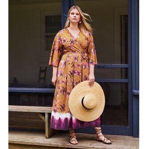 Eloquii   Spotted Floral Kimono Maxi Wrap Dress 18
